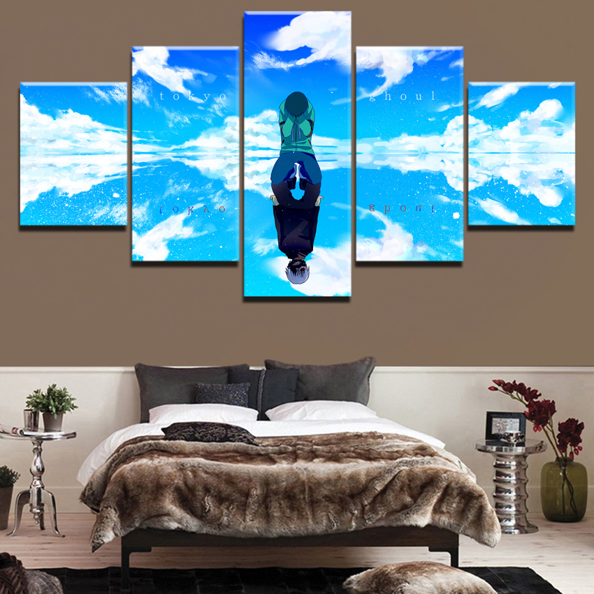 Wall Art Decor Modular Framework Canvas Art Print Anime Painting 5 Panel Tokyo Ghoul Character Reflection Poster Home Wall Decor in Painting Calligraphy from Home Garden