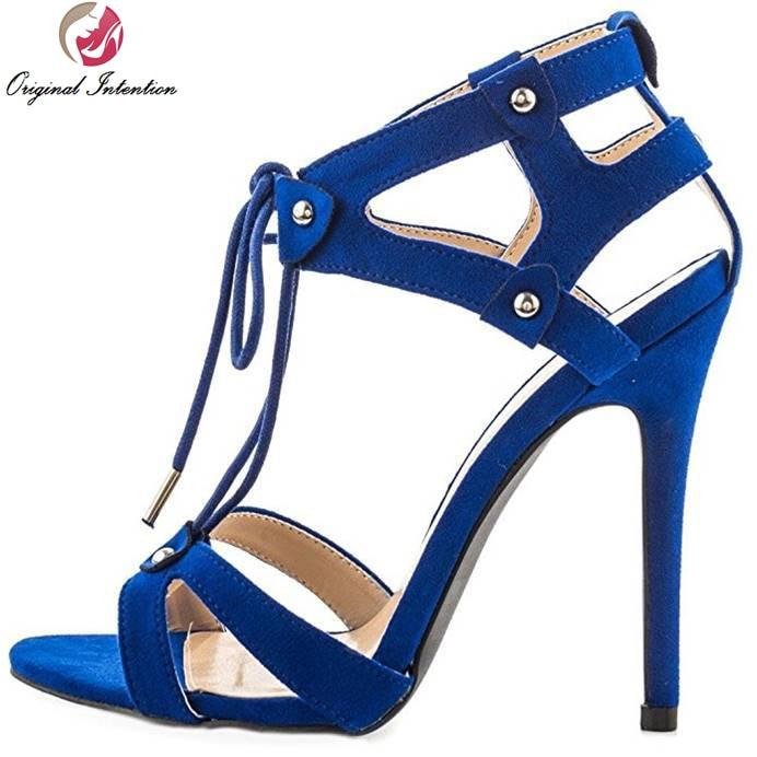 ФОТО Original Intention Elegant Women Sandals High-quality Open Toe Thin Heels Sandals Popular Blue Shoes Woman Plus US Size 4-15