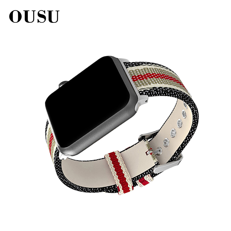 OUSU Nylon Watchband Smart Watch Strap For apple 4 3 2 1 44mm 42mm 40mm 38mm Band Sports iwatch