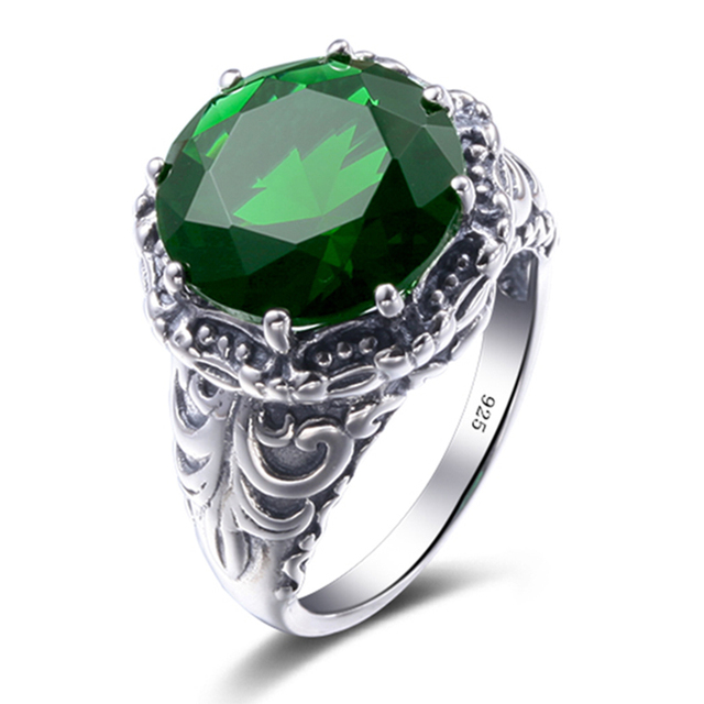 Big Discount 925 Sterling Silver Ring Vintage Style Luxury Green