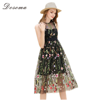 DOSOMA Women Runway Dresses Floral Embroidery Sleeveless Mid Dresses Bohemian Gorgeous Mesh Hollow Out Ladies Party
