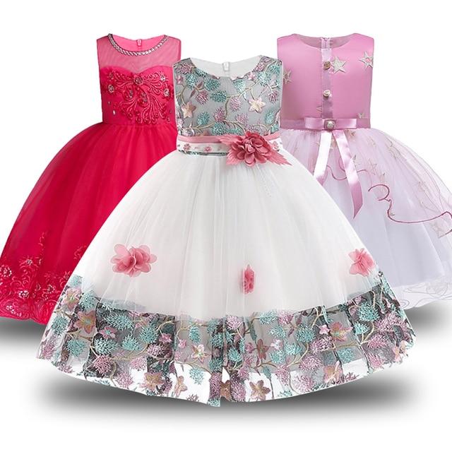 תינוק רקום פורמליות נסיכת שמלה לילדה אלגנטי מסיבת יום הולדת שמלת ילדה שמלת תינוקת חג המולד בגדי 2-14 שנים