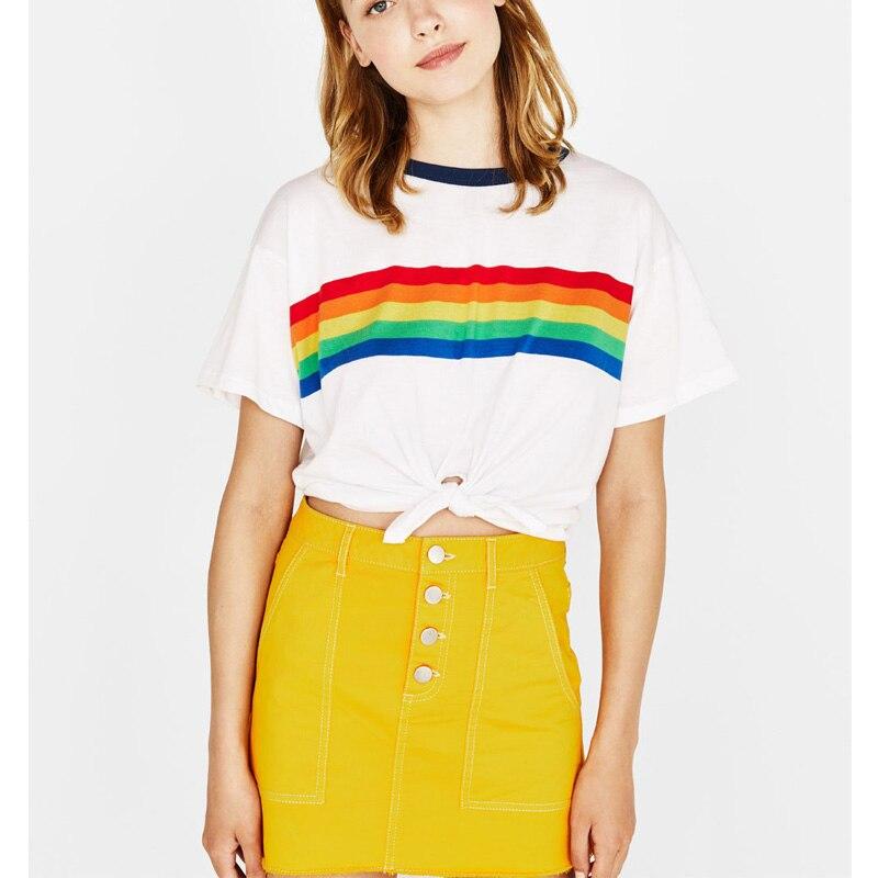 Rainbow Print T Shirt Women 2018 White Cotton Harajuku Vegan Tumblr BTS Kawaii Friends Bt21 Vintage Striped Crop Top Plus Size