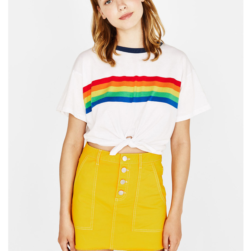 Rainbow Print T Shirt Women 2018 White Cotton Harajuku Vegan Tumblr BTS Kawaii Friends Bt21 Vintage Striped Crop Top Plus Size