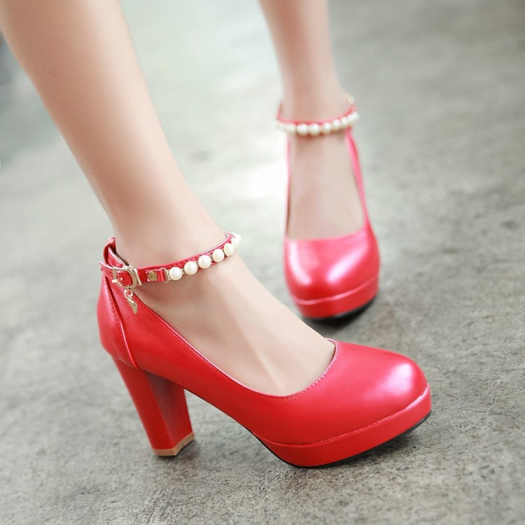 Beaded Red Bottom High Heels 2016 Spring And Autumn Sandals Women Shoes Sweet Round Toe Pumps