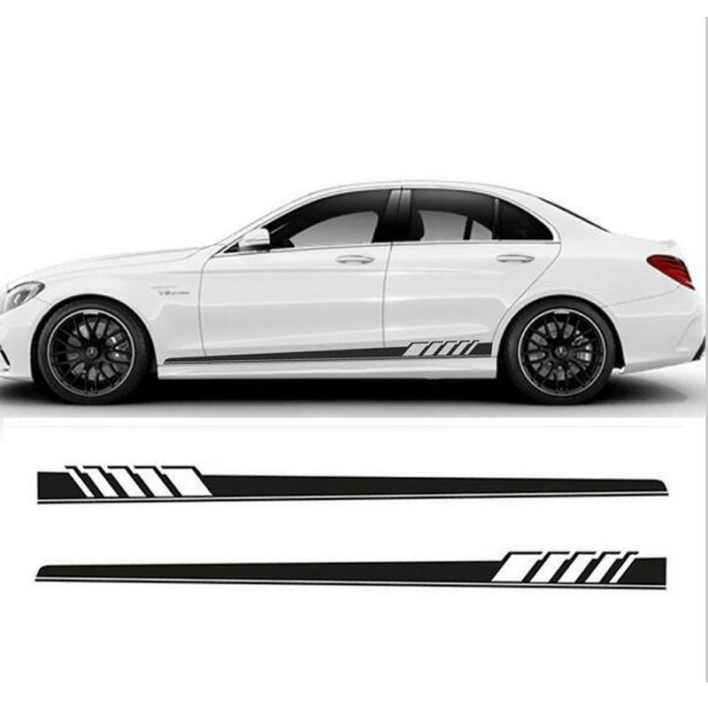2 Pcs Car Styling Racing Stripes Stickers Auto Cool Side Sticker Waterproof Car Decoration