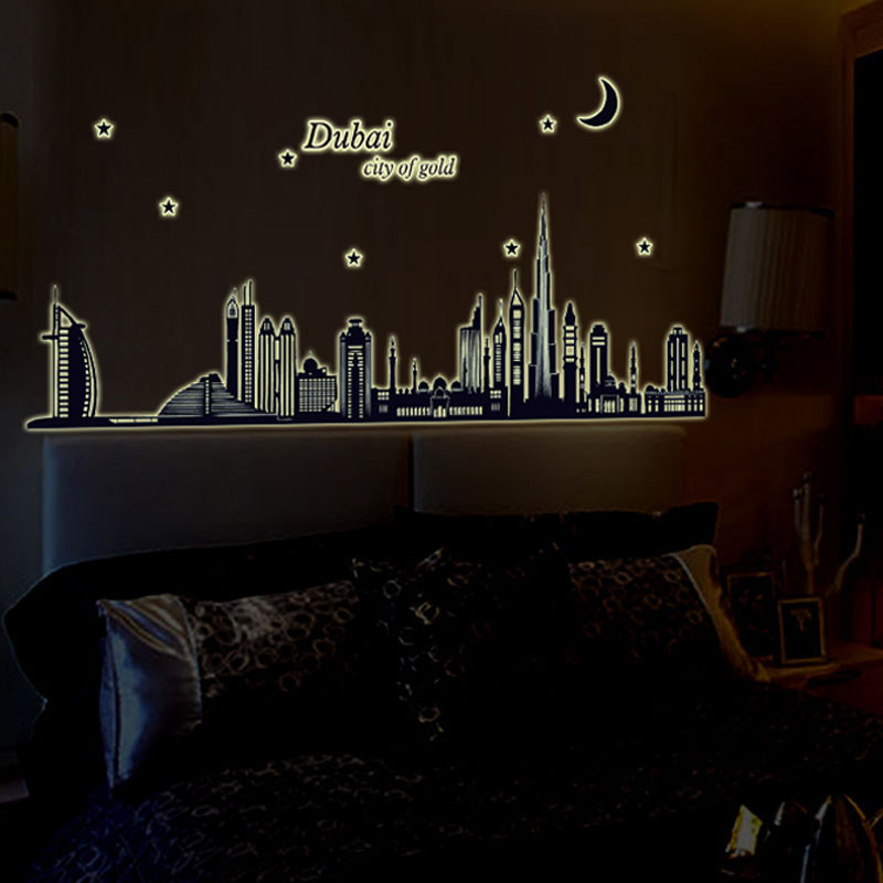 Dubai Night Glow In The Dark Luminous Wall Stickers Home Decor Living Room China