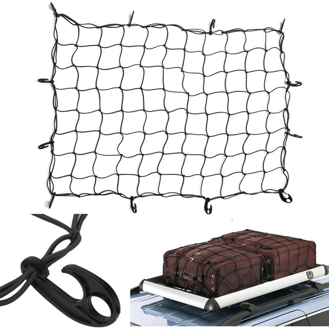 New Hook Elastic Car Trailer Roof Rack Boot Luggage Bungee Cord Cargo Net Black