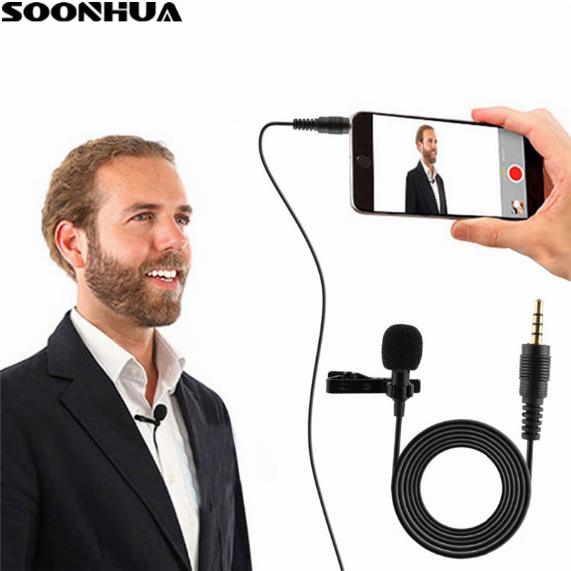 SOONHUA Professional Microphone For Phone Portable Mini Stereo HiFi Sound Quality Condenser Microphones Clip Lapel Microphone