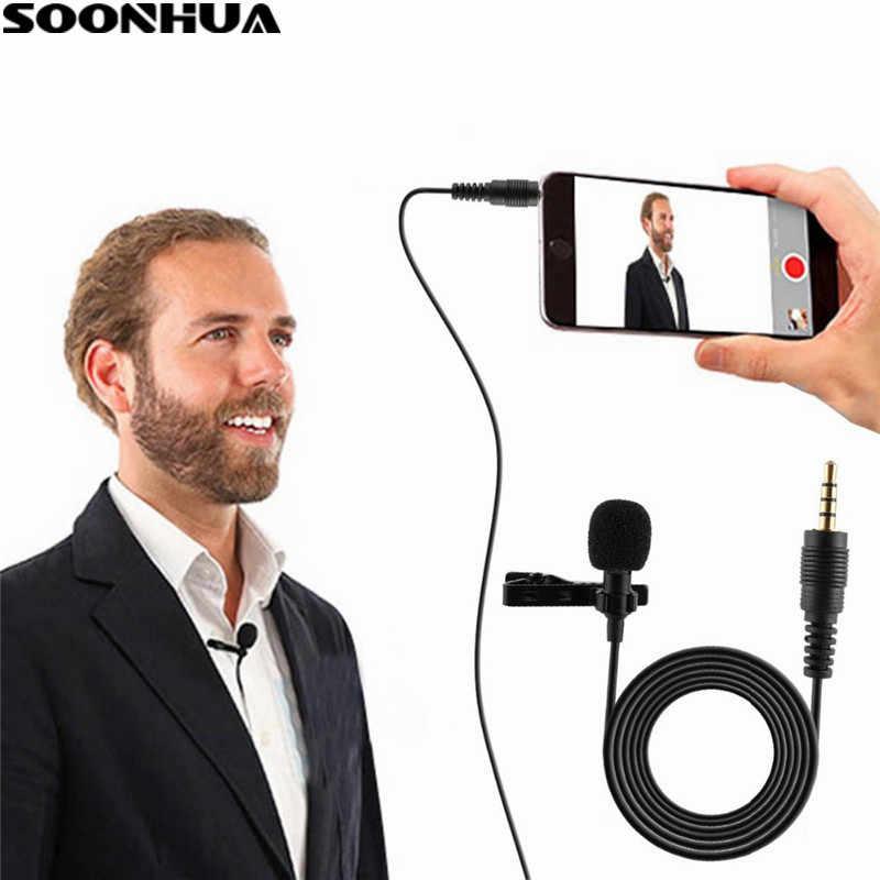SOONHUA Professionale Microfono Per Il Telefono Portatile Mini Stereo HiFi Qualità del Suono Microfoni A Condensatore Clip Risvolto Microfono