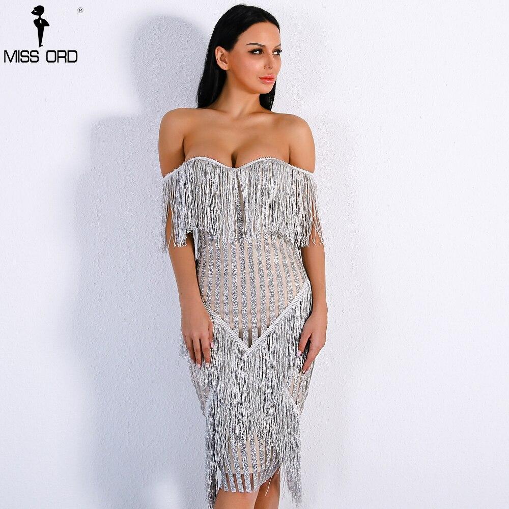 Missord 2018 Сексуальная с плеча полосатый блеск кисточкой вечерние платье FT8781