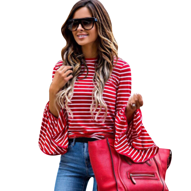 FUNOC Women Ruffled Striped Tops Red White Striped Long Flare Sleeve O-Neck Shirt Blusas Casual Elastic Slim Tees Top Haut Femme white casual round neck ruffled dress