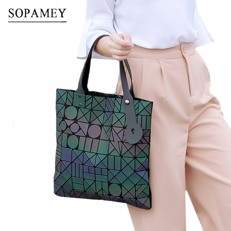 SOPAMEY 2017 Fashion Bags Women Tote Laser Luminous Geometric Hand Bag baobao Bag Handbag Ladies Famous Brands Shoulder Bags 2017 fashion tote laser bag women baobao hand bags summer geometric bao bao handbag ladies famous brands shoulder bag big