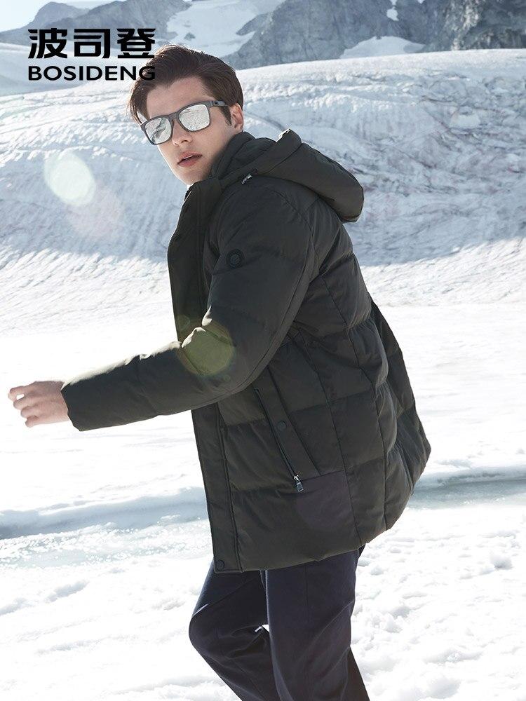 BOSIDENG inverno addensare down jacket per gli uomini con cappuccio giù cappotto caldo outwear mid lungo regular top impermeabile sei colori b80141021 - 3