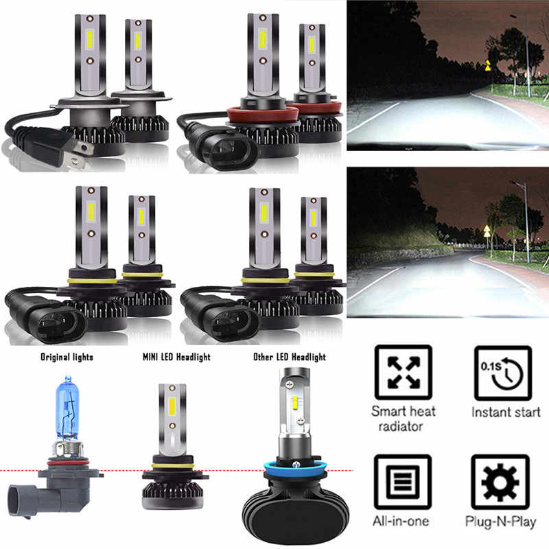New 2Pcs High Bright Low Consumption COB Chip Mini H7/H11/9005/9006 LED Headlight Bulbs Car Driving Lamps 6000K White#289909