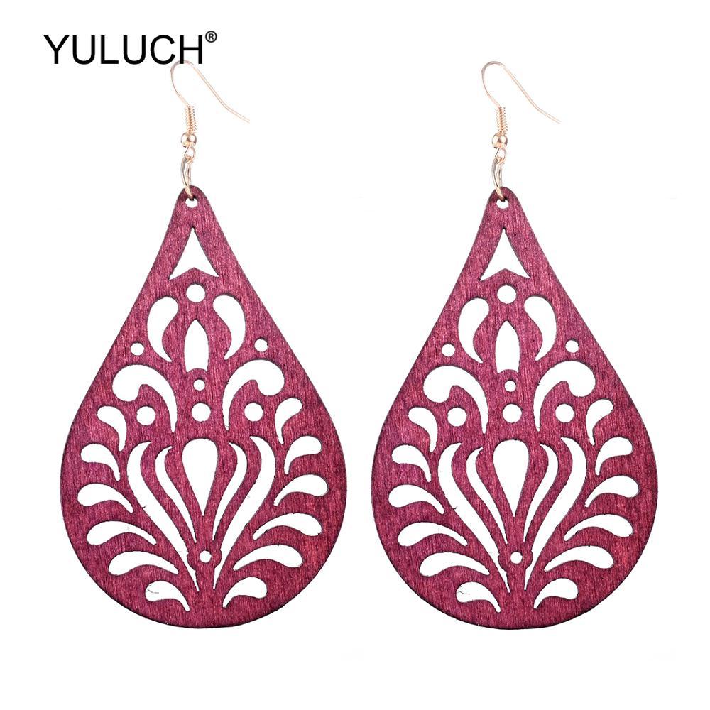 YULUCH 2019 Red Black Water Drop Wooden Hollow Flower Pendant Earrings Vintage Indian Bohemia Jewelry Hanging Earrings For Women