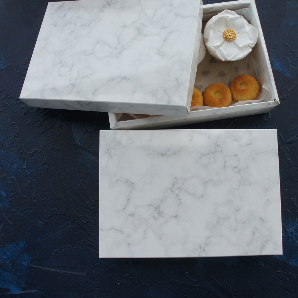 high quality 21 14 5cm 10pcs marble design chocolate Paper Box wedding party cookie candy Macarons Snacks Packing Storage Boxes