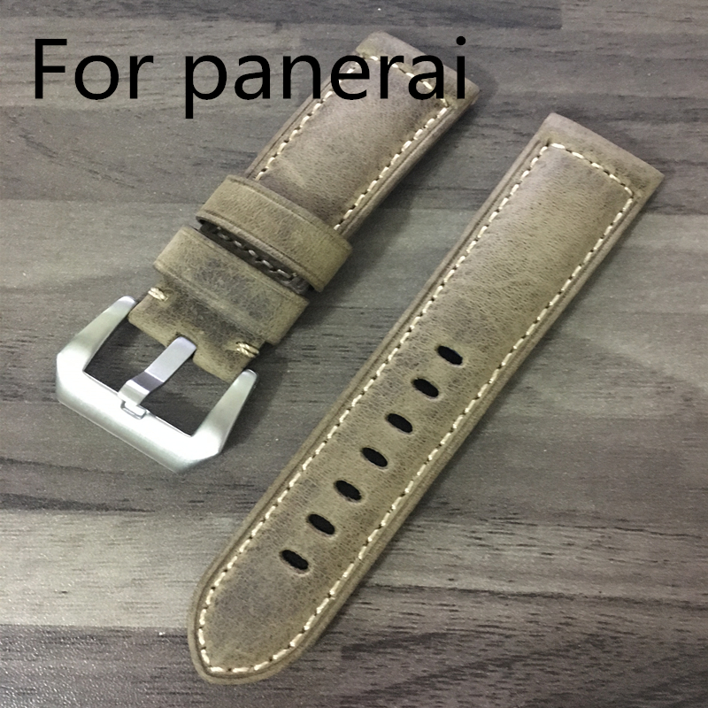 22mm 24mm 26mm Vintage Brown Italy Calf Crazy Horse Genuine Leathe Strap, Retro Watchband Bracelet For Pam111 With Original Logo hot racing italy horse logo fxx k