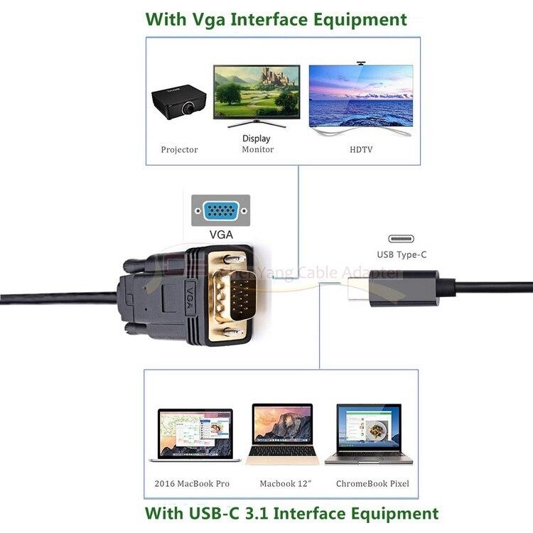 usb Type c Type-C USB 3.1 to VGA Male 1080p HDTV Monitor Cable for - Համակարգչային մալուխներ և միակցիչներ - Լուսանկար 6