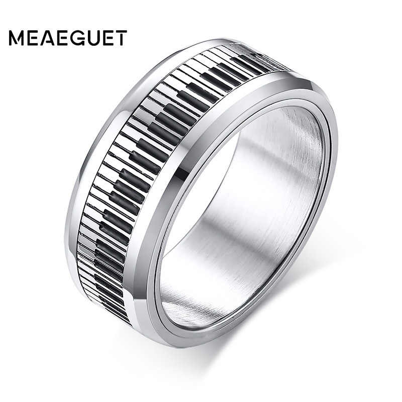 Rotatable Spinner Ring Men Music Piano Keyboard Stainless Steel 2018 New Man Boyfriend Gift
