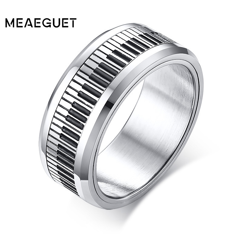 Rotatable Spinner Ring Men Music Piano Keyboard Stainless Steel New Man Boyfriend Gift in Rings from Jewelry Accessories