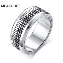 Rotatable Spinner Ring Men Music Piano Keyboard Stainless Steel New Man Boyfriend Gift