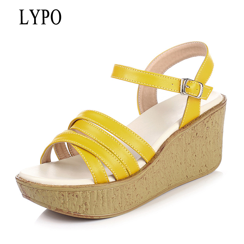 LYPO Women's shoes summer Platform Sandals Thick-soled wedges women shoes new fashion braided sandals open toe summer causal open toe buckle high heeled thick waterproof platform sandals for women