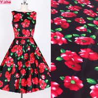 Width 125cm Red Flower Fabric 100% Cotton Fabric Twill Poplin Fabric DIY Home Patchwork Sewing Material For Girl Summer Dress