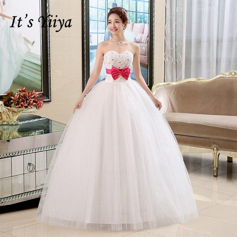 It's YiiYa Wedding Dress Rose Red Bow Sashes Elegant Wedding Dresses Bridal Strapless Floor Length Princess Ball Gown HS133