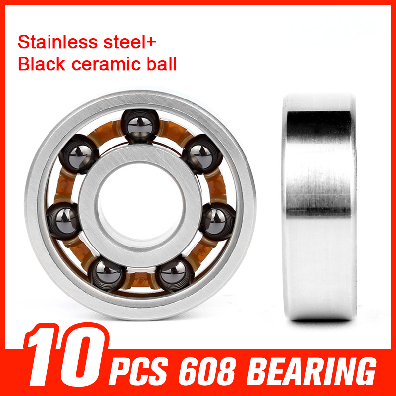10pcs 608 Bearings Stainless Steel Black Ceramic Ball Bearing for Fidget Spinner Skateboard Hardware Tool Accessories 150pcs 608 bearings black ceramic ball 608 stainless steel bearing for high speed fidget spinner skating roller toy accessories