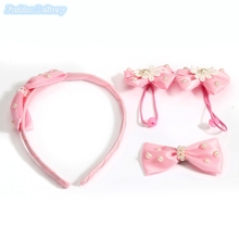1Set Kids Hair Accessories Cute Pearl Headband Bowknot Hair Ropes Flowers Hair Clips Girls Hair Styling Tools 4in1 Free Shipping