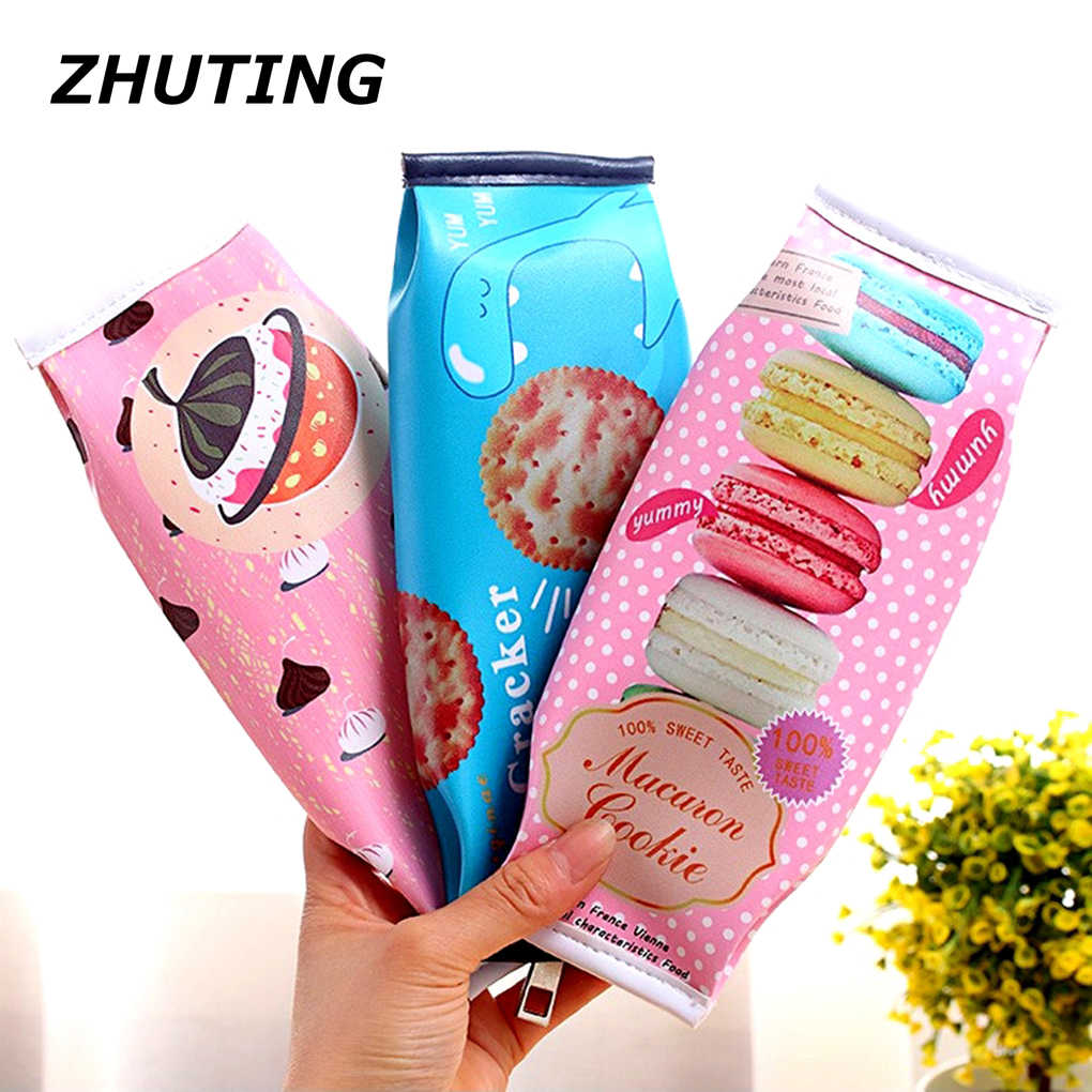 Brand new Peculiar Large-Capacity Simulation Biscuit Pencil Case PU Stationery Bag Pen Box