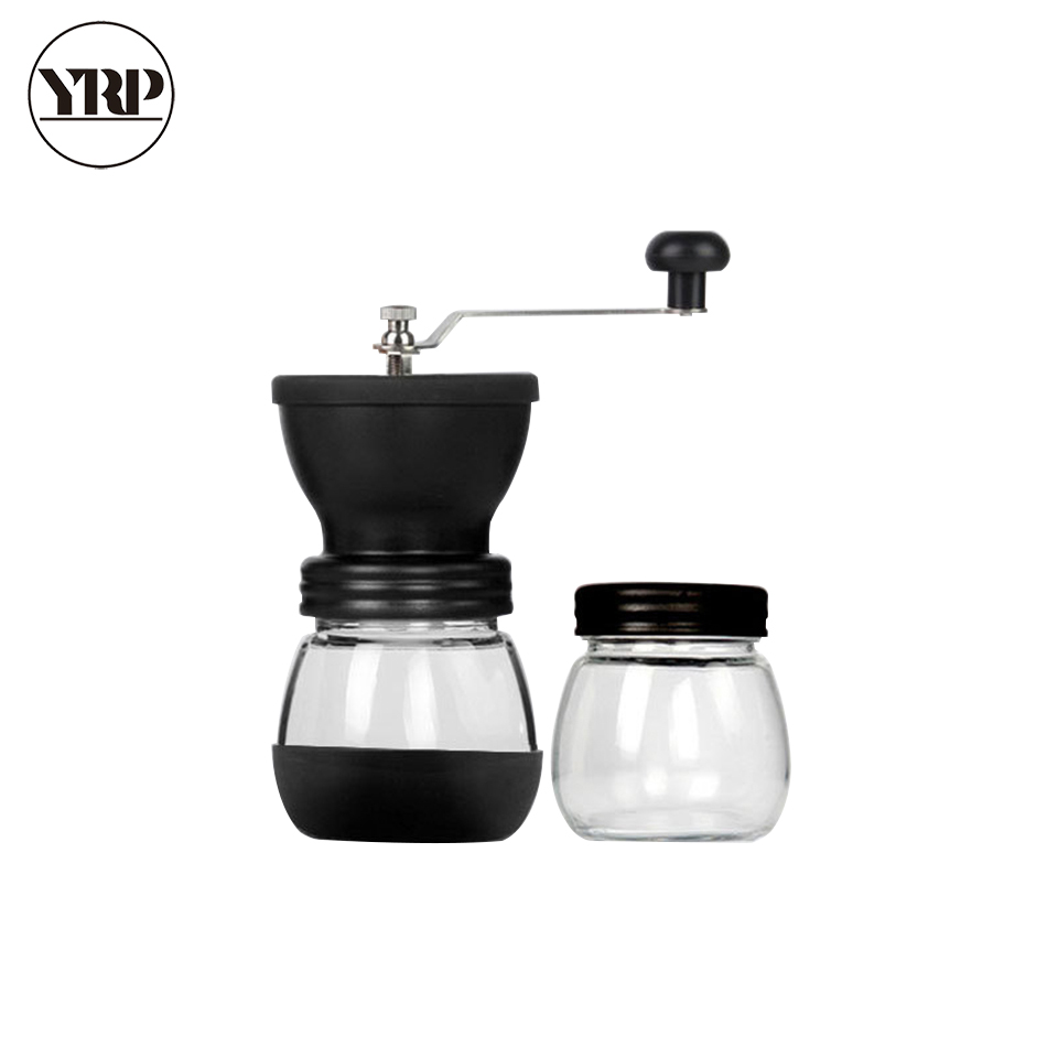 Image 5 - YRP Manual Ceramic Burr Coffee Bean Grinder with Fortified Glass Storage Jar Durable Cafe Bean Mill Coffee Maker Kitchen ToolsManual Coffee Grinders   -