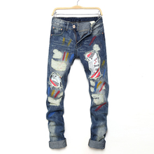 2017 Tide card Mens Jeans Straight pants Pencil Men Kanye West Denim Pants Destroyed Distressed Ripped Jeans With Holes For Men