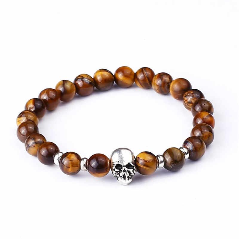 Lava Pedra Olho de Tigre Pulseira de Contas Crânio de quartzo Fosco Preto Para As Mulheres Homens Encantos Buddha Contas Elástico Pulseira Da Moda Jóias