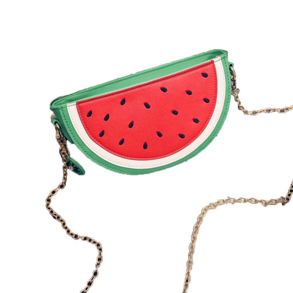 100% Waar Zomer Nieuwe Vrouwelijke Tas Pu Lederen Vrouwen Tas Leuke Fruit Pakket Keten Schoudertas Messenger Bag Orange Watermeloen Zak Aromatisch Karakter En Aangename Smaak