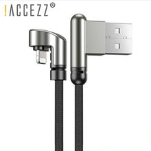 !ACCEZZ USB Cable Lighting Charger For iPhone 5 6 7 X XS XR 180 Degree Elbow Fast Charging Charge Cord Wire Data Cables iPad