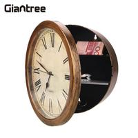 Golden Wall Clock Secret Safe Box Wall Mounted Hanging Key Cash Money Jewelry Storage Security Safe