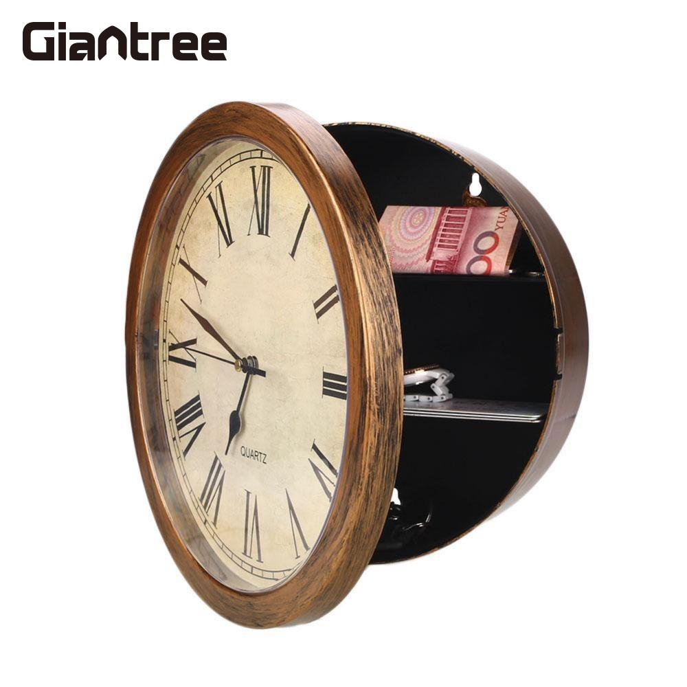 giantree Golden Wall Clock Secret Safe Box Wall-Mounted Hanging Key Cash Money Jewelry Storage Security Safe Box clock key Box hot sale 2017 cost effective best price lockable security metal key cabinet storage box safe 20 tags fobs wall mounted