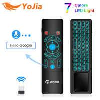 T6 Plus voix télécommande 2.4G sans fil mouche Air souris mini clavier anglais russe 7 couleurs rétro-éclairage pour TV Box T9 X96 MAX
