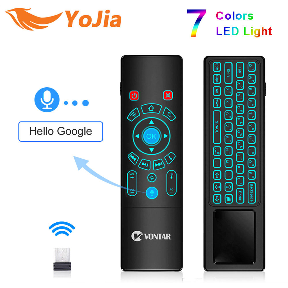T6 Plus Voice Remote Control 2.4G Wireless Fly Air Mouse mini keyboard English Russian 7 Colors Backlight for TV Box T9 X96 MAX