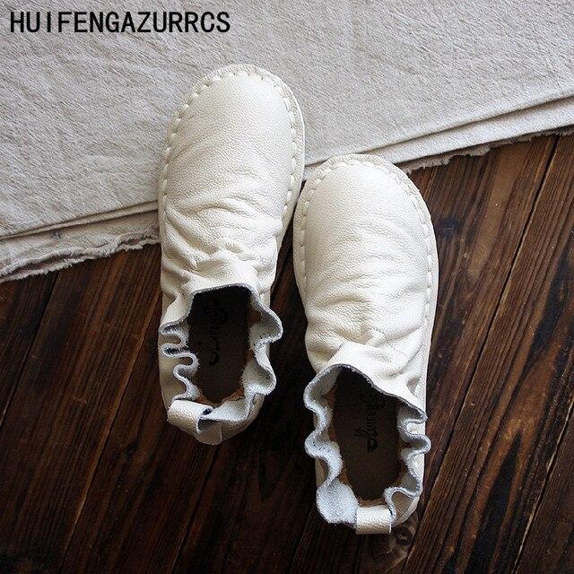HUIFENGAZURRCS - ฤดูใบไม้ผลิของแท้รองเท้าหนังทำด้วยมือรองเท้า retro mori สาวรองเท้า, เอกสารพับพื้นผิวรองเท้า