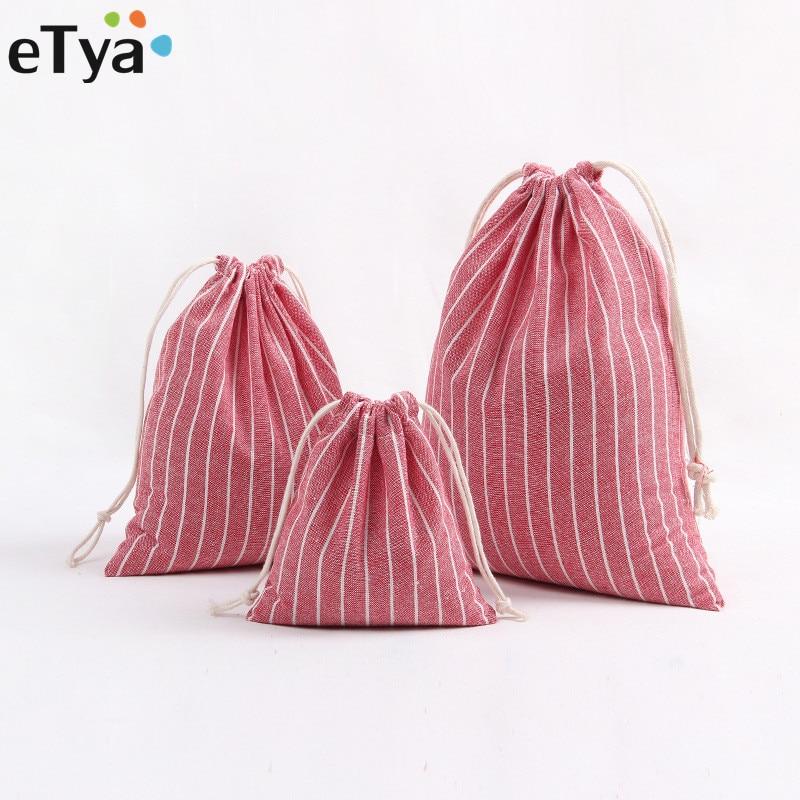 ETya Retro Women Cotton Drawstring Shopping Bag Fashion Eco Reusable Folding Grocery Cloth Underwear Pouch Case