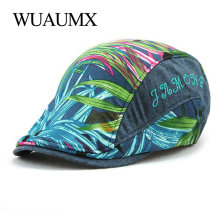 Wuaumx Brand Summer Beret Hats For Women Men Print Leaves Peaked Gorras Planas Sun Hat Flat Cap Newsboy Boina Adjustable