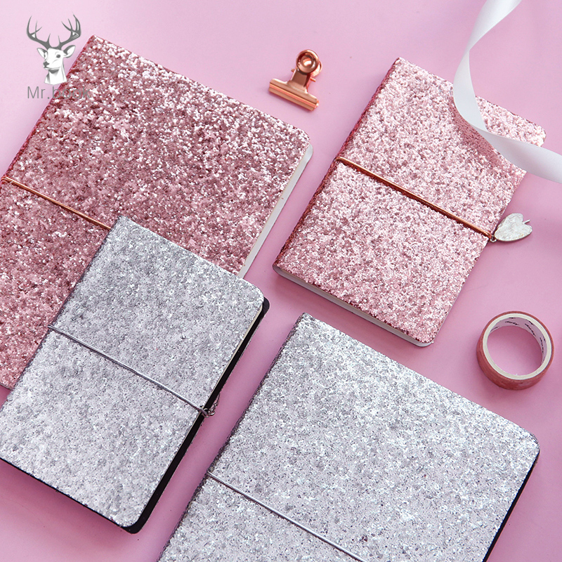 A5 A6 Notebook Paper Bling Pink Silver Sequins Notepad Diary Journal Office School Supplies Travelers Drawing Gift Stationery cute nature animal plant a5 notebook 32 page notepad diary journal office school supplies free shipping