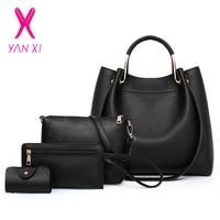 YANXI Women Bag Set Female Top Handle Big Capacity Handbag Fashion Shoulder Bag Purse Ladies PU Leather Crossbody Bag 4 Sets