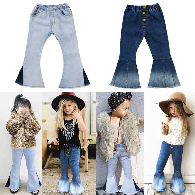 latest fashion new product new & pre-owned designer US $4.55 9% OFF|New Cute fashion kid flare jeans Toddler Kids Baby Girl  Bell Bottoms Pants Denim Wide Leg Jeans Trousers stylish kid pant-in Jeans  ...