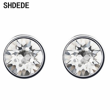 цены SHDEDE Round Studs Earrings For Women Mens Party Fashion Jewelry Gift Embellished With Crystals From Swarovski  *+47