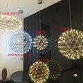 Feitas à mão em aço inoxidável círculo criativo luz pingente lâmpada de fogo de artifício raimond puts led restaurante bola d20/d30/d45/50/60 cm