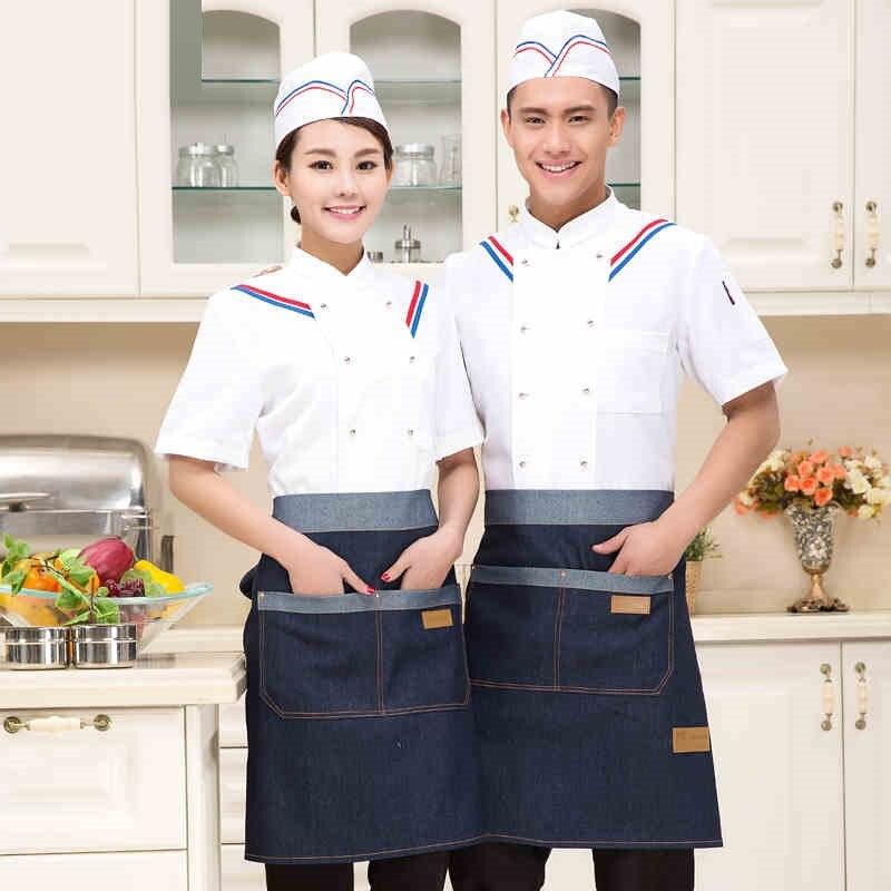 (10 Sets-hoed & Shirt & Schort) Korte Chefs Uniformen Wit Mode Kok Pak Zomer Keuken Chef-kok Jas Met Caps En Schorten